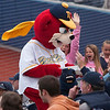 Record-Eagle/Douglas Tesner<br /> Sunburn, one of the Traverse City Beach Bums mascots, interacts with fans during the Bums' home opener against the Southern Illinois Miners Tuesday.