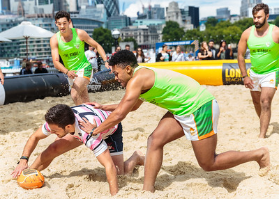 London Beach Rugby action at City Hall, UK