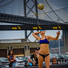 Alix Klineman serves the ball during her match at the AVP San Francisco Open Tournament on Friday, July 6, 2018, in San Francisco, California (Kyle Adler/Bay Area News Group)