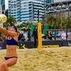 Alix Klineman sets up the ball for her teammate, Olympian April Ross during their match at the AVP San Francisco Open Tournament on Friday, July 6, 2018, in San Francisco, California (Kyle Adler/Bay Area News Group)