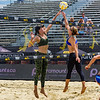 Karissa Cook blocks the spike during her match at the AVP San Francisco Open Tournament on Friday, July 6, 2018, in San Francisco, California (Kyle Adler/Bay Area News Group)