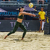 Karissa Cook sets up the ball for her teammate, Katie Spieler, during their match at the AVP San Francisco Open Tournament on Friday, July 6, 2018, in San Francisco, California (Kyle Adler/Bay Area News Group)