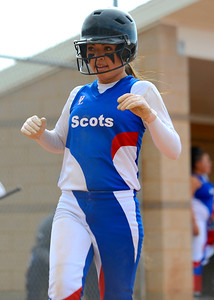 Justyne Salazar # 2 scores a point for Ben Lomond High School. At the Softball game at Ogden High School on April 7, 2015.