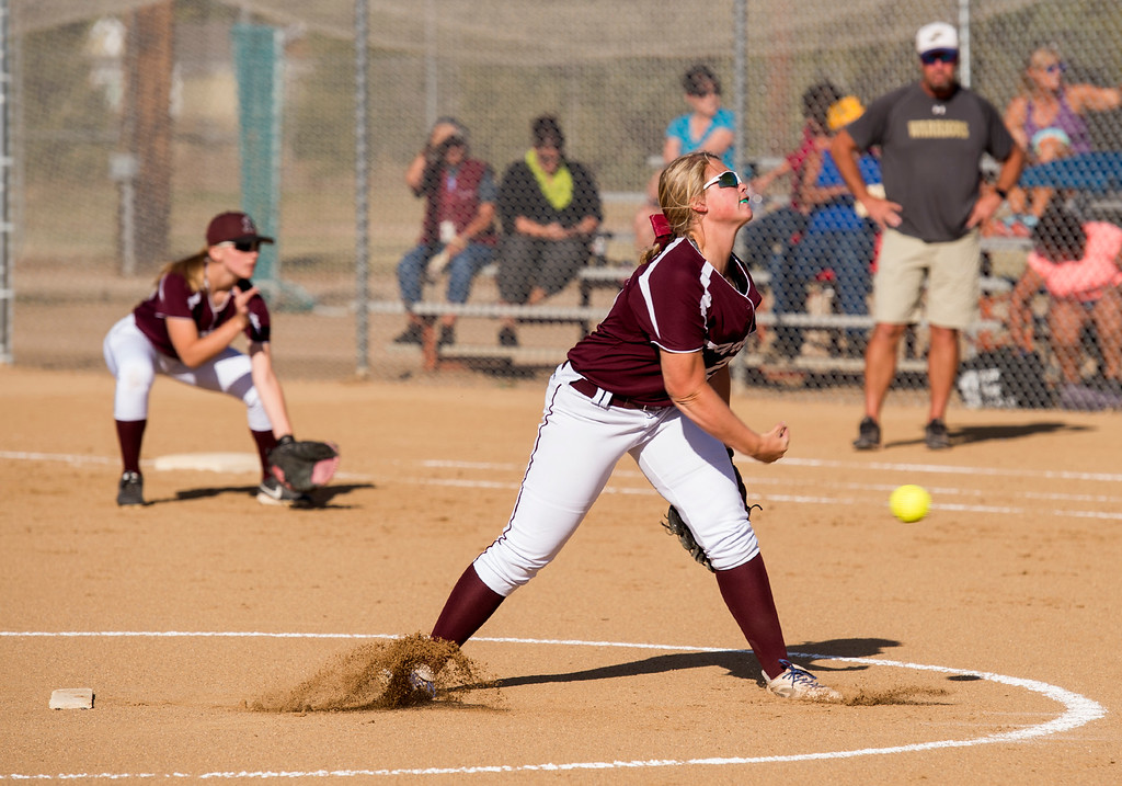 . Berthoud sophomore Sarah Jorissen (25) pitches against Frederick Thursday afternoon Sept. 29, 2016 as the two teams met in Berthoud. (Photo by Michael Brian/Loveland Reporter-Herald)