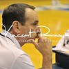 Coach Mike Krzyzewski observes his team during the 2015-16 pre-season at Cameron Indoor Arena. Photo by Sports Photographer Vincent Rush of Cincinnati Sports Photography.