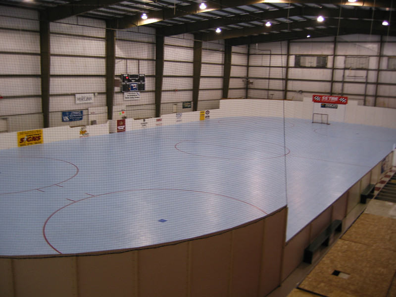 Rollin'.  Roller Hockey was started by Nick Champa and Ted Butler in Lexington.  After a brief rocky period it restarted in 2004 in Nicholasville.  Sweat equity from parents and players resulted in laying down a floor that Kentucky Indoor Soccer and Sport purchased.  The floor is sport court.  Underneath is around 16,000 square feet of roofing board.