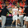 Beverly's Duncan Moreland is greeted by teammates before the division 2 championship game. Beverly took on Belmont during the Division 2 North championship at the Tsongas Center in Lowell Saturday. Beverly took home the North Sectional trophy, with a final score of 76-59. RYAN MCBRIDE/Staff photo 3/7/20