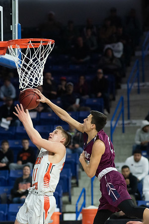 Beverly's Justin DeLaCruz goes up for a lay up. Beverly took on Belmont during the Division 2 North championship at the Tsongas Center in Lowell Saturday. Beverly took home the North Sectional trophy, with a final score of 76-59. RYAN MCBRIDE/Staff photo 3/7/20