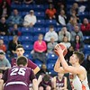 Beverly's Duncan Moreland takes a free throw shot. Beverly took on Belmont during the Division 2 North championship at the Tsongas Center in Lowell Saturday. Beverly took home the North Sectional trophy, with a final score of 76-59. RYAN MCBRIDE/Staff photo 3/7/20