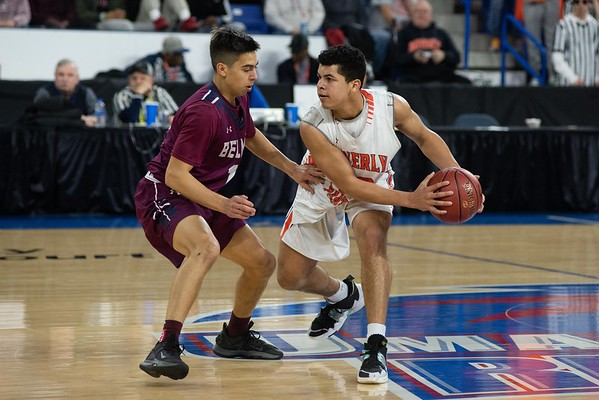 Beverly's Gabe Copeland brings the ball up court. Beverly took on Belmont during the Division 2 North championship at the Tsongas Center in Lowell Saturday. Beverly took home the North Sectional trophy, with a final score of 76-59. RYAN MCBRIDE/Staff photo 3/7/20