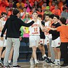 Beverly's Jack Crowley is greeted by teammates before the division 2 championship game. Beverly took on Belmont during the Division 2 North championship at the Tsongas Center in Lowell Saturday. Beverly took home the North Sectional trophy, with a final score of 76-59. RYAN MCBRIDE/Staff photo 3/7/20