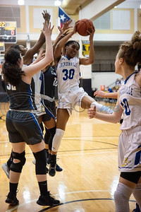 Jacksonville's (30) Kalessia Anderson grabs the rebound during the first half of their bi-district playoff basketball against Sulphur Springs held at Wagstaff Gymnasium in Tyler on Monday, Feb. 17, 2020.  (Sarah A. Miller/Tyler Morning Telegraph)