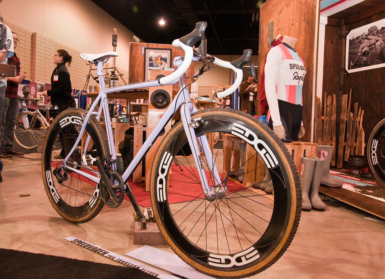 """North American Handmade Bicycle Show-00156.  Note the Rapha custom jersey in the back.  I'm a firm believer in their """"Rules of the Road""""<br /> <br /> <a href=""""http://www.rapha.cc/rules-of-the-road"""">http://www.rapha.cc/rules-of-the-road</a><br /> <br /> Those are the shortened version of OREC.   Humbly linked below:<br /> <br /> <a href=""""http://www.facebook.com/group.php?gid=2258201150"""">http://www.facebook.com/group.php?gid=2258201150</a>"""