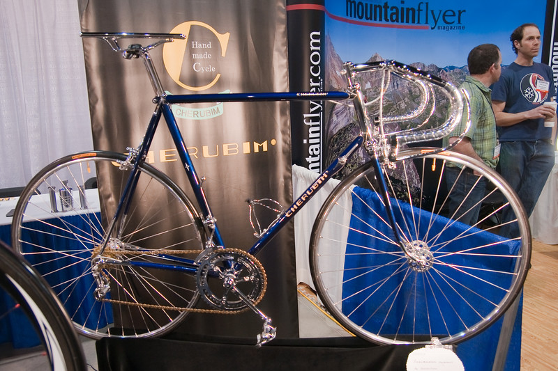 "North American Handmade Bicycle Show-00242.  Cherubim show bike.  Check out the details on the next few images.  Also note the tubular rail seat.  The latest trend in saving your man parts??<br /> <br /> <a href=""http://www.cs-cherubim.com/"">http://www.cs-cherubim.com/</a>"