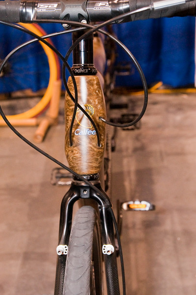 North American Handmade Bicycle Show-00164.  Bamboo Triple from Calfee.  First there was steel, then Ti, along came Carbon.  Next its Bamboo.