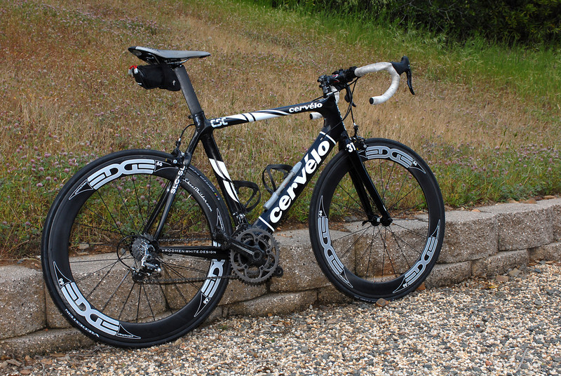"""Bill's 2008 Cervelo SLC SL with a set of wheels from Edge Composites.  They are the """"68s"""" (68mm depth to aero section) with a ceramic PowerTap rear hub and DTSwiss 240 Ceramic Front hub.  These are carbon clincher rims (vs. aluminum rims with carbon aero attachments)."""