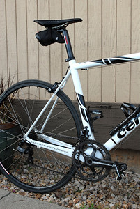 Bill's Cervelo R3 with full Campy 11, 39/53 Chainrings, 12/27 rear.  The stiffness-to-weight ratio of this bike makes it the most unbelieveable climber on the road (wish I could do it justice!).   Nothing feels as connected and direct-drive to the road as this bike.  Completely different bike from the SLC SL.