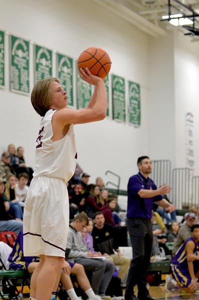 Joel Moline | The Sheridan Press<br /> Big Horn's Ayden Phillips (25) attempts a 3-pointer against Campbell County High School JV Friday, Jan. 10, 2019.