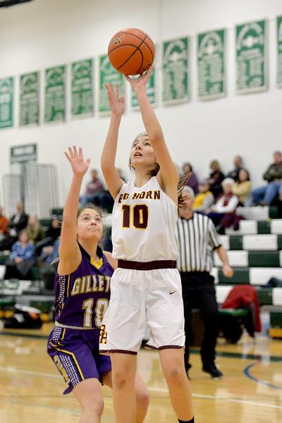 Joel Moline | The Sheridan Press<br /> Big Horn's Chrysanthi Paninos (10) scores a layup against Campbell County High School JV Friday, Jan. 10, 2019.