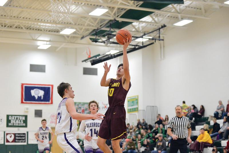 Joel Moline | The Sheridan Press<br /> Big Horn High School's James Richards (10) scores a layup against Glenrock High School Saturday,  Jan. 11, 2019.