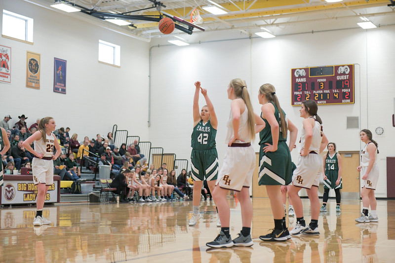 Ashleigh Snoozy | The Sheridan Press<br>Tongue River's Sadie Koltiska (42) shoots a free throw after being fouled by a Big Horn opponent Saturday, Jan. 18, 2020.
