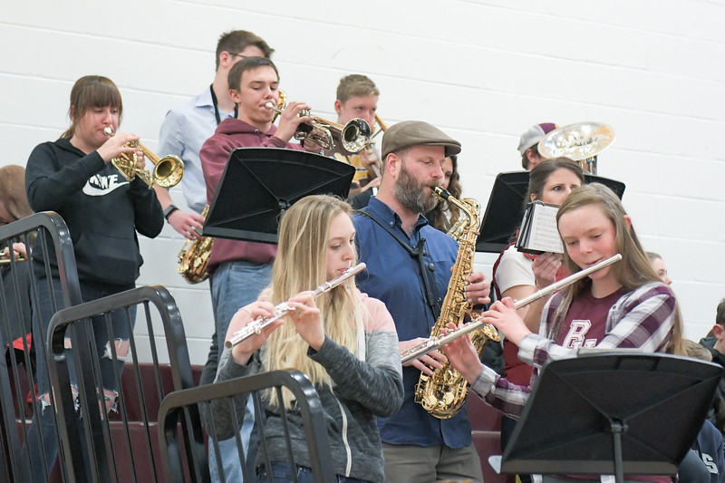 Ashleigh Snoozy | The Sheridan Press<br>Big Horn High School pep band plays during a stop in action against Big Horn and Tongue River basketball teams Saturday, Jan. 18, 2020.