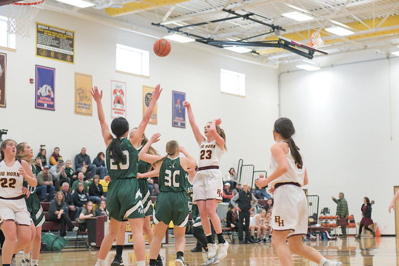 Ashleigh Snoozy | The Sheridan Press<br>Big Horn's Jordan Frank goes up for a shot in traffic during action against Tongue River High School at Big Horn High School Saturday, Jan. 18, 2020. The Lady Rams beat the Lady Eagles 41-27.