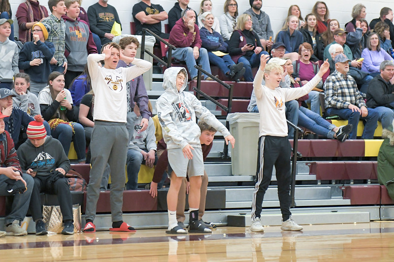 Ashleigh Snoozy | The Sheridan Press<br>Big Horn students react to a call of a block instead of a charge during a basketball game against Tongue River at Big Horn High School Saturday, Jan. 18, 2020.