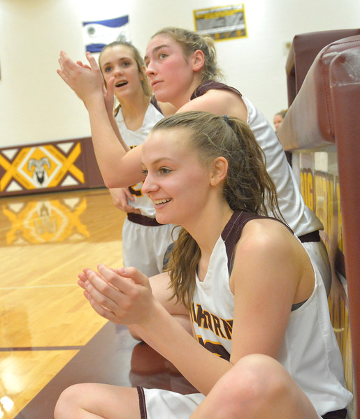 Justin Sheely   The Sheridan Press<br /> <br /> Big Horn players, from front, Sydney Schmidt, Jill Mayer and Courtney Wallach react to a basket made against Tongue River at Big Horn High School Friday, Feb. 9, 2018. Big Horn Lady Rams won 47-28.