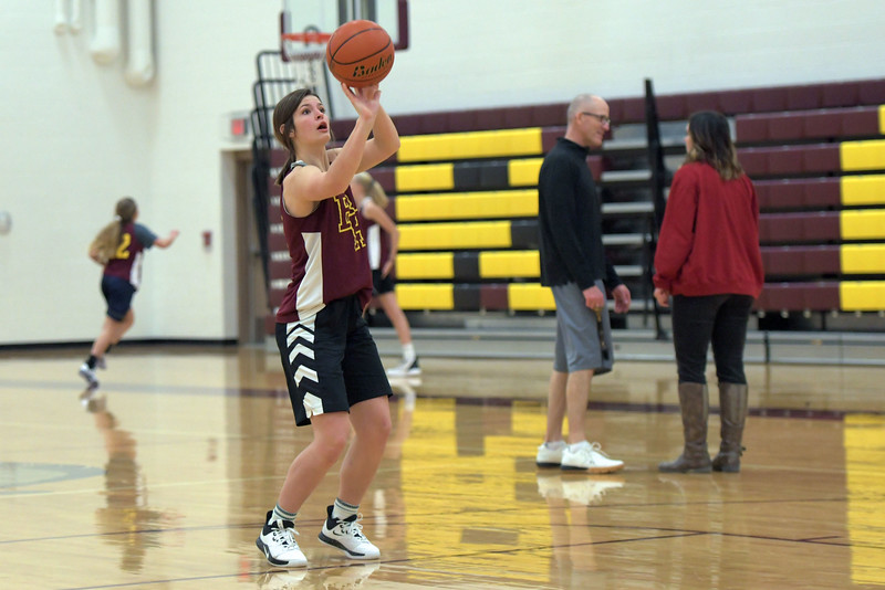 Joel Moline | The Sheridan Press<br /> Big Horn's Ashley Billings shoots a free throw during practice Wednesday, Dec. 18, 2019.