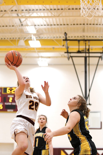 Matthew Gaston | The Sheridan Press<br>Big Horn's Courtney Wallach (20) makes the layup against Wright Friday, Feb. 15, 2019. The Lady Rams won 58-47.