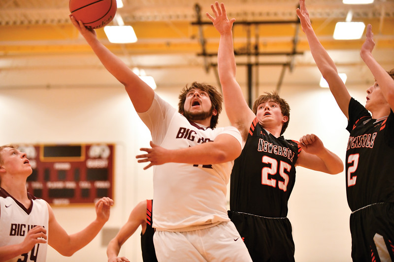 Matthew Gaston | The Rams' Jaxon Parker scores two from underneath the basket against Newcastle Saturday, Feb. 2, 2019. Big Horn lost 66-64.