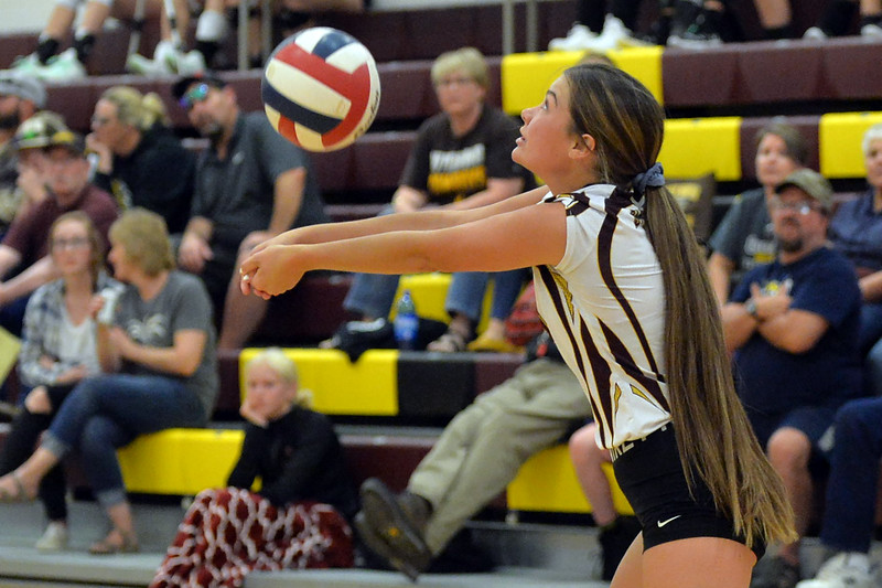 Joel Moline | The Sheridan Press<br /> Big Horn's Cheyann Price (8) receives a spike against Rocky Mountain Saturday, Sept. 14, 2019.