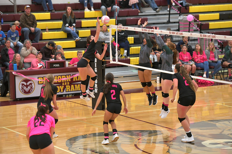Matthew Gaston | The Sheridan Press<br>Big Horn's Ashley Billings (16) gets some air to make the kill during the second set against Tongue River Saturday, Oct. 12, 2019.