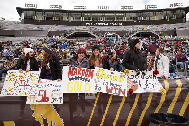 Matthew Gaston   The Sheridan Press<br>The Big Horn student section at the state championship game had a plackard for every situation Saturday, Nov. 16, 2019.