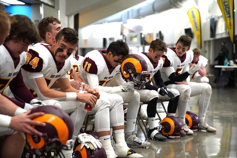 Matthew Gaston   The Sheridan Press<br>Big Horn's James Richards (11) mentally prepares for the big game Saturday, Nov. 16, 2019.
