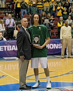 "Brittney Griner receives the ""Player Of The Year"" award from the Big XII while in Kansas City for the tournament."