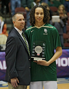 Brittney Griner receives the Big XII Player of the Year Award for 2012 in Kansas City.