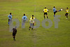 "Players battle for the ball around the midfield, and equator line, at the ""Big Zero"" Stadium on the equator in Macapa, capital of the Brazilian state of Amapa, Dec. 1, 2004. One half of the stadium is in the Northern Hemisphere, the other in the Southern Hemisphere."