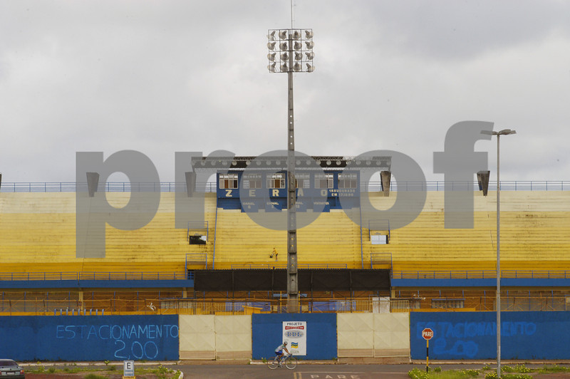 "The ""Zerao"" (Big Zero)stadium built on the equador in Macapa, in the Brazilian Amazonian state of amapa. The left side of the photo is the southern hemisphere, the right is the northern. (Douglas Engle/Australfoto)"