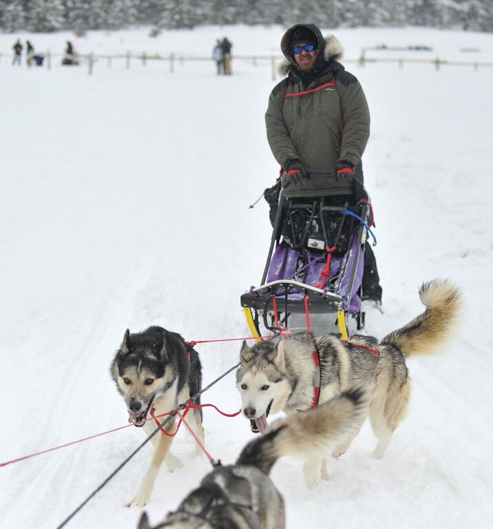 Bud Denega | The Sheridan Press<br /> Allan Berge races during the Bighorn Rush Sled Dog Challenge at Granite Pass Saturday, Dec. 30, 2017.