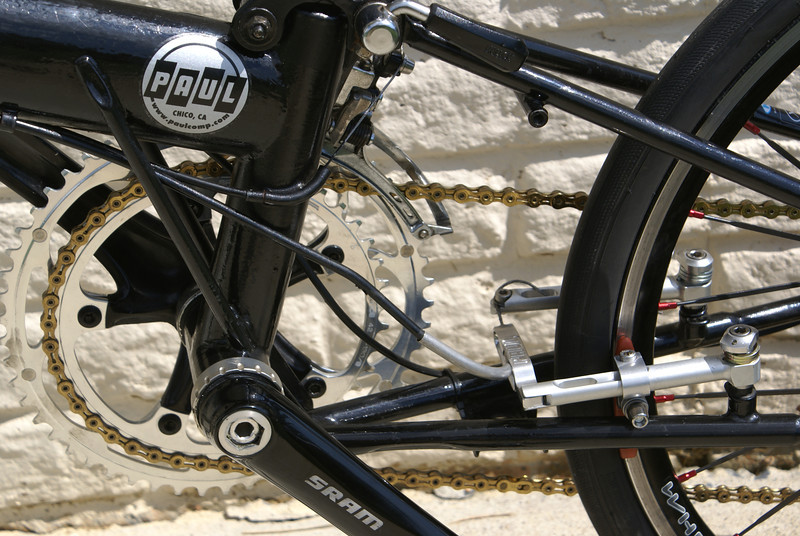 Paul Motolite V-Brake linear pull brake system mounted on Bike Friday. The ultimate in lightweight stopping power.  Ability to adjust to fit brake blocks exactly to rim. Uses Kool-Stop brake pads.