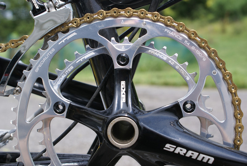 Specialites TA chain rings on SRAM GXP crank on Bike Friday Crusoe.