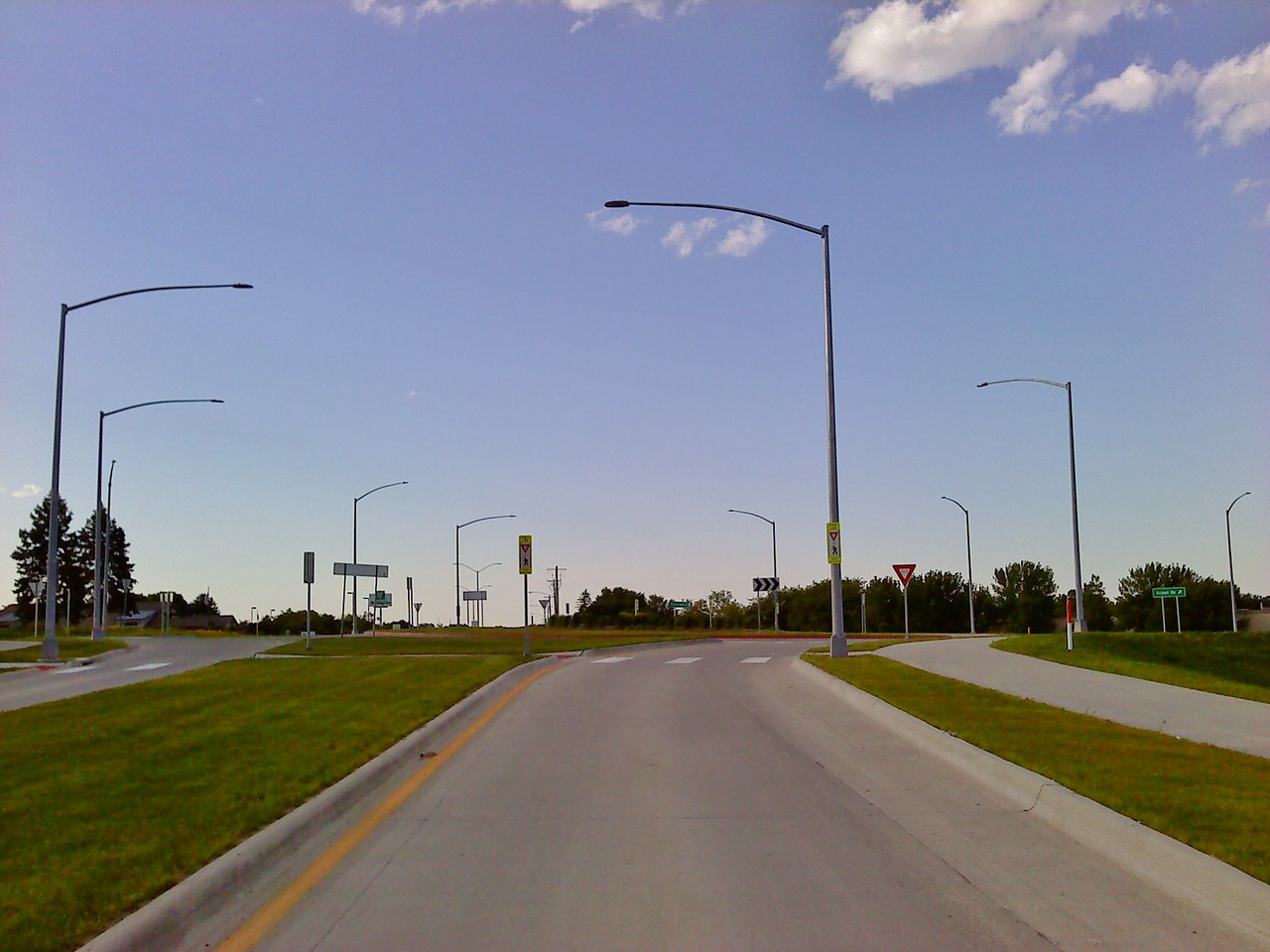 University Boulevard & Airport Road/Oakwood Road intersection - north roundabout