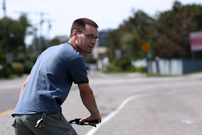 Biking down Dune Road.