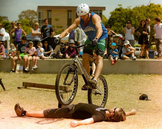 """Alternate Processing: """"Expiration"""" - Borys Zagrocki, Tim Mullaly - expressivebikes.com bike trials demo team - Active Outdoors Expo - Queensland Outdoor Recreation Federation, Manly, Brisbane, Queensland, Australia; Saturday 1 October 2011. Photos by Des Thureson:  <a href=""""http://disci.smugmug.com"""">http://disci.smugmug.com</a>"""
