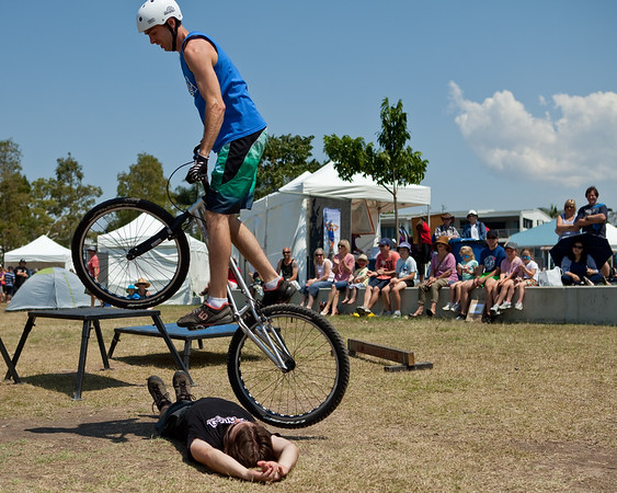 "Borys Zagrocki, Tim Mullaly - expressivebikes.com bike trials demo team - Active Outdoors Expo - Queensland Outdoor Recreation Federation, Manly, Brisbane, Queensland, Australia; Saturday 1 October 2011. Photos by Des Thureson:  <a href=""http://disci.smugmug.com"">http://disci.smugmug.com</a>"