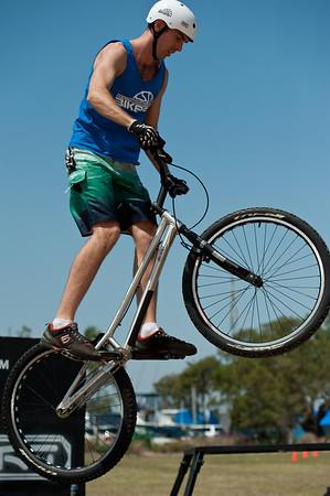"""Borys Zagrocki - expressivebikes.com bike trials demo team - Active Outdoors Expo - Queensland Outdoor Recreation Federation, Manly, Brisbane, Queensland, Australia; Saturday 1 October 2011. Photos by Des Thureson:  <a href=""""http://disci.smugmug.com"""">http://disci.smugmug.com</a>"""
