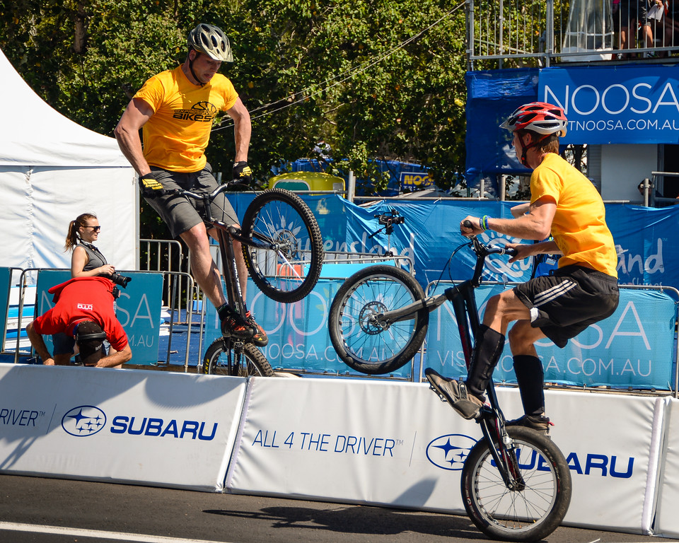 "Heiko Lehmann, Lewis Greenhalgh - ExpressiveBikes Bike Trials Stunt Team - 2013 Super Saturday at the Noosa Triathlon Multi Sport Festival, Noosa Heads, Sunshine Coast, Queensland, Australia. Camera 1. Photos by Des Thureson - <a href=""http://disci.smugmug.com"">http://disci.smugmug.com</a>"