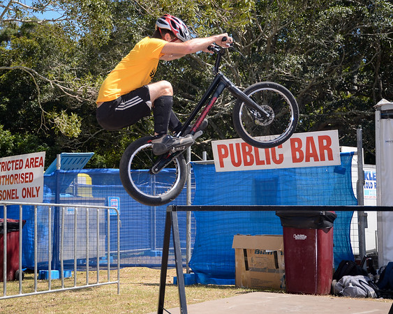 """Heiko Lehmann - ExpressiveBikes Bike Trials Stunt Team - 2013 Super Saturday at the Noosa Triathlon Multi Sport Festival, Noosa Heads, Sunshine Coast, Queensland, Australia. Camera 1. Photos by Des Thureson - <a href=""""http://disci.smugmug.com"""">http://disci.smugmug.com</a>"""